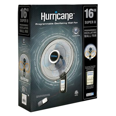Hurricane® Super 8 Oscillating Digital Wall Mount Fan 16 in