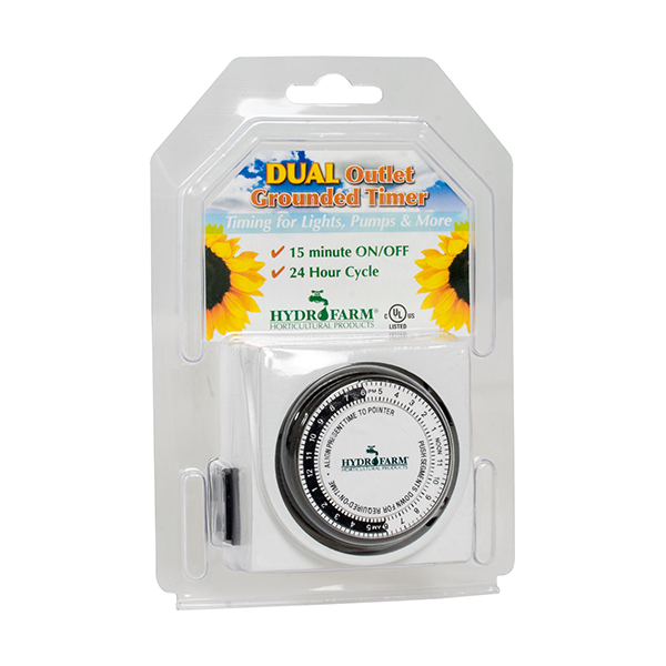Dual Outlet Grounded Timer 15 Amp - Saratoga Organics