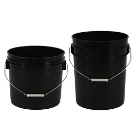 Black Plastic Buckets w/ Wire Handle